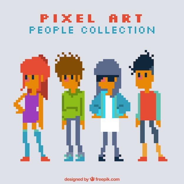 Set of pixelated teenagers