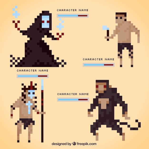 Set Of Pixelated Video Game Characters Vector Free Download