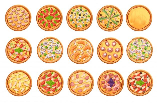 Набор иконок пиццы на белом набор пиццы вид сверху. страница веб-сайта и элемент мобильного приложения. Premium векторы