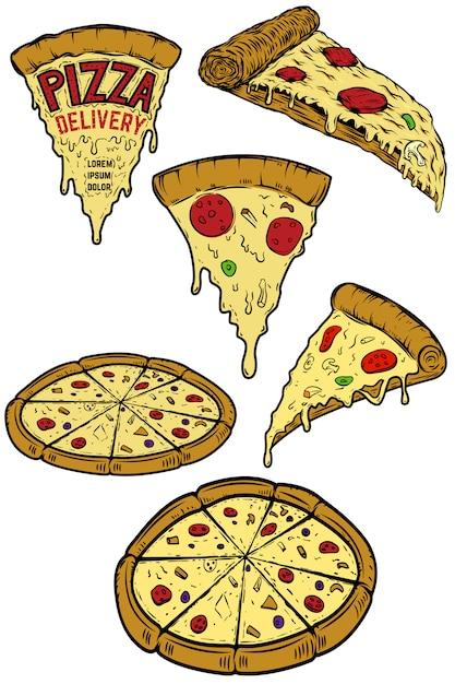 Набор пиццы иллюстраций. элементы для плаката, меню, флаера ресторана. доставка пиццы. иллюстрация Premium векторы
