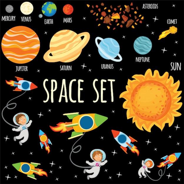 Набор планет и космонавтов в космическом пространстве. Бесплатные векторы