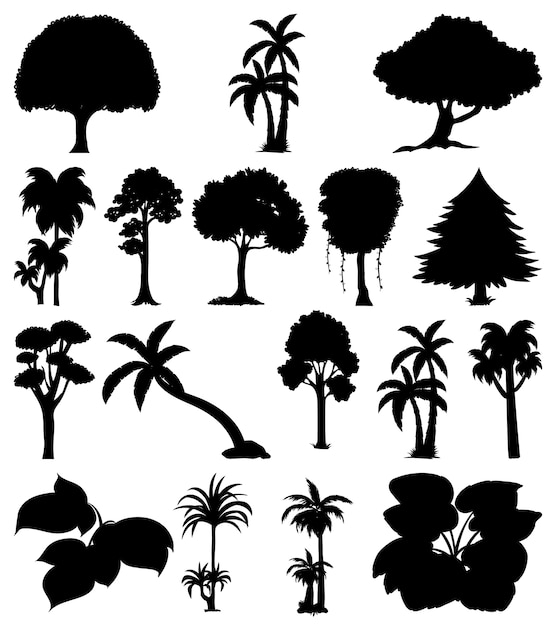 植物と木のシルエットのセット 無料ベクター