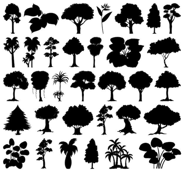 식물과 나무 실루엣의 집합 무료 벡터