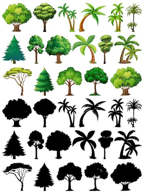 식물과 나무의 실루엣으로 설정 무료 벡터