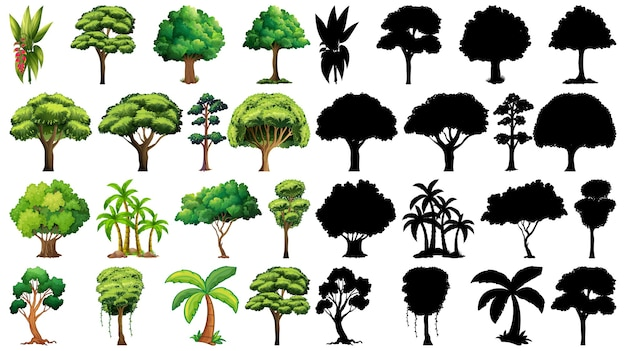そのシルエットと植物と木のセット 無料ベクター