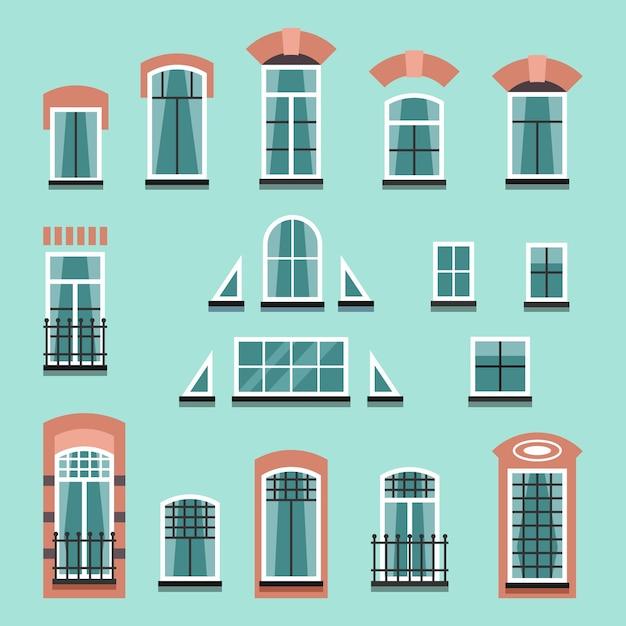 シャッター、窓辺、カーテン、壁のないバルコニー付きのプラスチック製または木製の窓枠のセット。フラットスタイルのイラスト Premiumベクター
