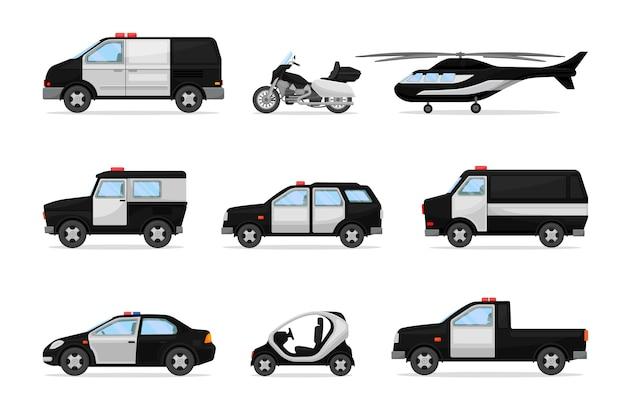 警察の黒と白の車両のセット Premiumベクター