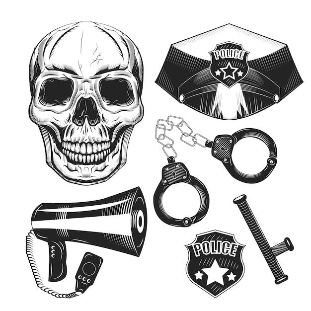 경찰 장비 및 두개골 격리됨에 흰색 집합입니다. 프리미엄 벡터