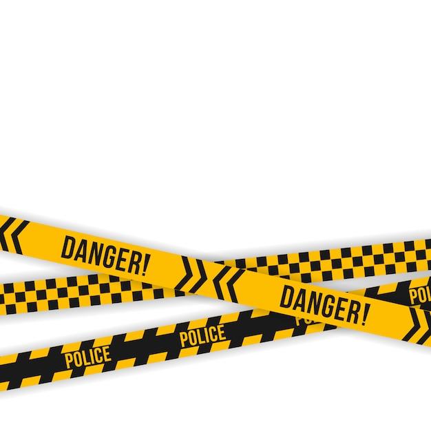 警察の黄色と黒のテープのセット。斜めストライプのセキュリティ。安全 ...