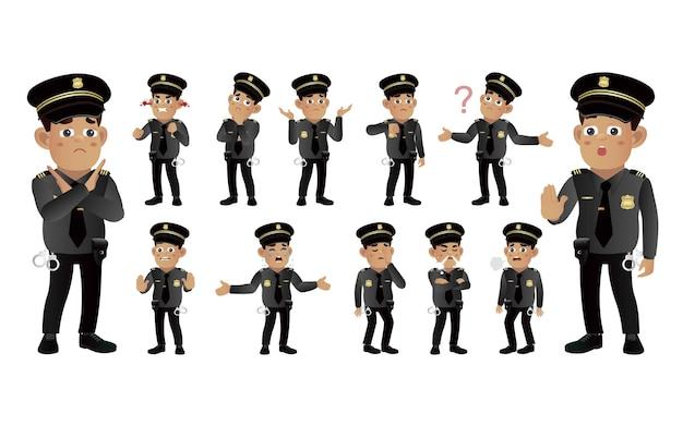 다른 감정을 가진 경찰관의 집합 프리미엄 벡터