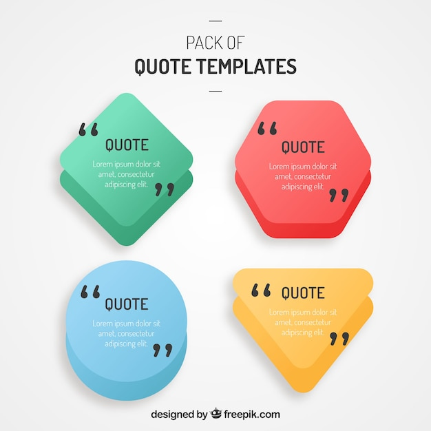 Set of polygonal shape templates for quotes