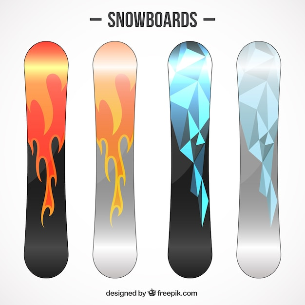 Set of polygonal snowboards and flames