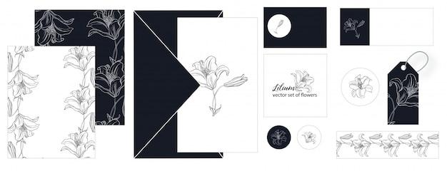 ユリの花のポストカードのセット。 Premiumベクター