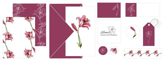 ユリの花とはがきのセット Premiumベクター