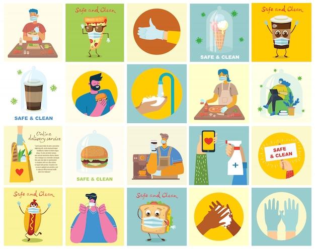 きれいに洗った手でポスターのセット。ウイルスから保護された食事。イラストの医療目的セット。モダンなフラットスタイルのベクトルイラスト。コロナウイルス保護の概念。 Premiumベクター
