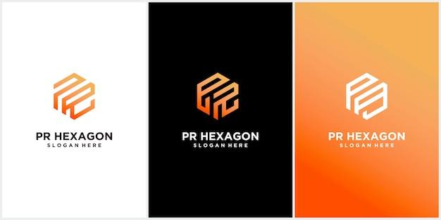 Набор шаблонов логотипа pr шестиугольника Premium векторы