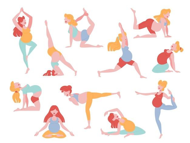 요가 운동을 하 고 임신 한 여자의 집합입니다. 임신 중 피트니스 및 스포츠. 건강한 라이프 스타일과 휴식. 만화 스타일의 그림 프리미엄 벡터