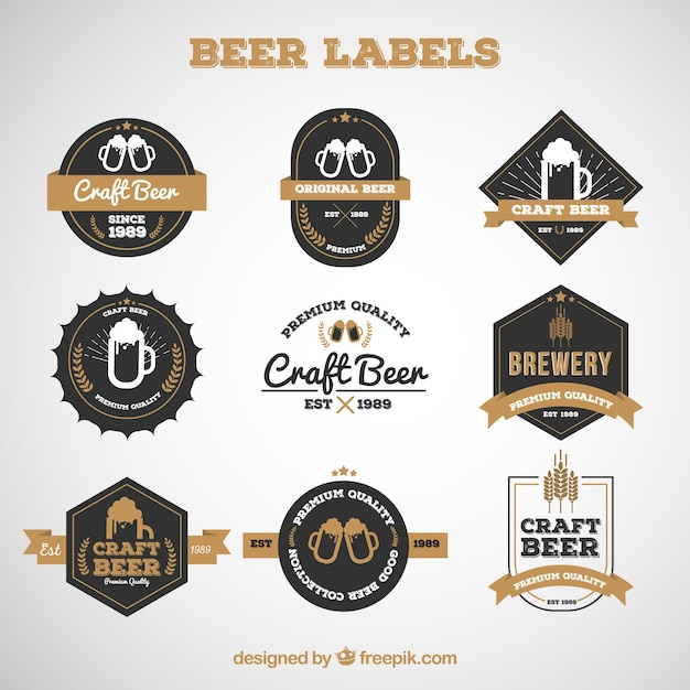 Set of premium beer labels Free Vector