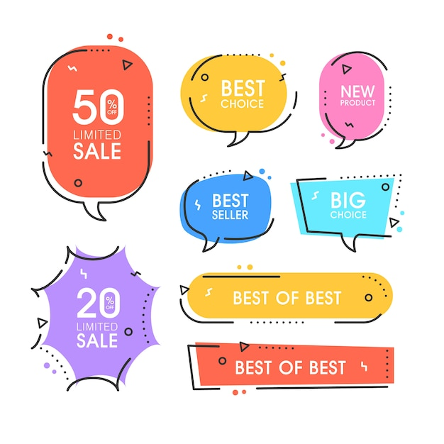 プレミアム品質のラベルのセット。ショッピング、eコマース、製品プロモーション、ソーシャルメディアステッカー、マーケティングのモダンなイラストラベル。 Premiumベクター