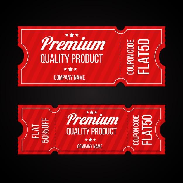 프리미엄 품질의 제품 쿠폰 코드 티켓 템플릿 집합 프리미엄 벡터