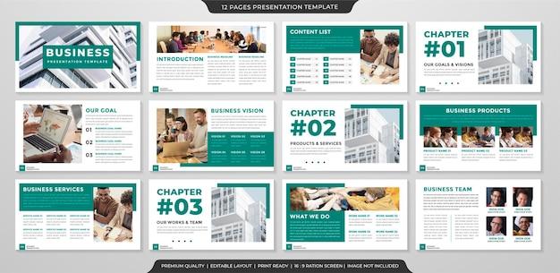 비즈니스 프로필 및 연례 보고서에 대한 미니멀 스타일과 현대적인 개념 사용으로 프리젠 테이션 레이아웃 템플릿 세트 프리미엄 벡터