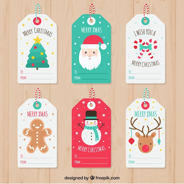 Set of pretty christmas tags Free Vector