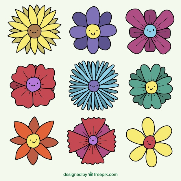 Set Of Pretty Hand Drawn Flowers With Faces Free Vector