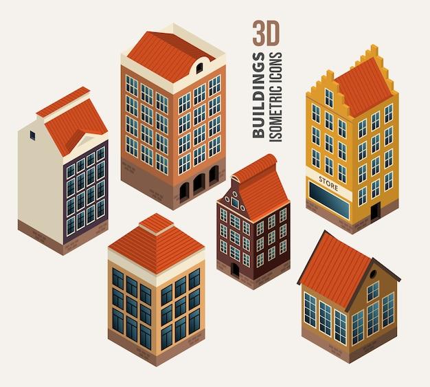 かわいい家のセット、建築アイソメトリック3dベクトル建物。アイコンとシンボル、アパートのブロック。ベクトルイラスト 無料ベクター
