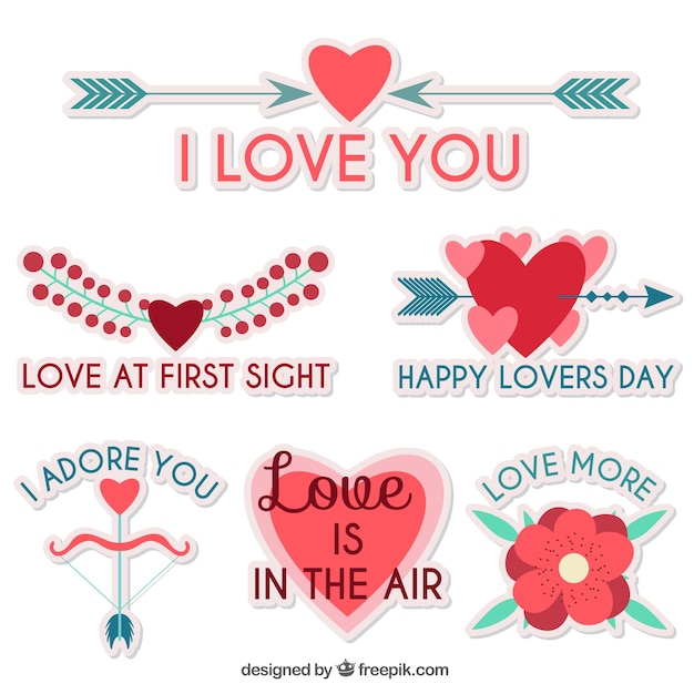 set of pretty love stickers with messages vector free download