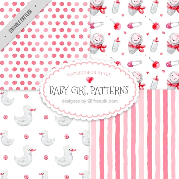 Set Of Pretty Watercolor Baby Patterns Vector Free Download Gorgeous Baby Patterns