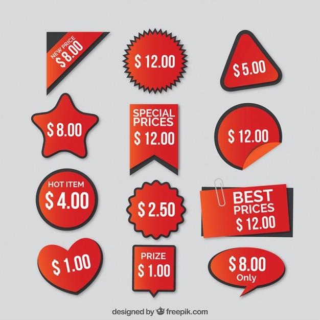 Набор цен красные наклейки Бесплатные векторы