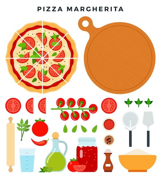 Набор продуктов и инструментов для приготовления пиццы, изолированные на белом Premium векторы