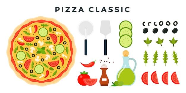 製品と白で隔離されるピザを作るためのツールのセット Premiumベクター