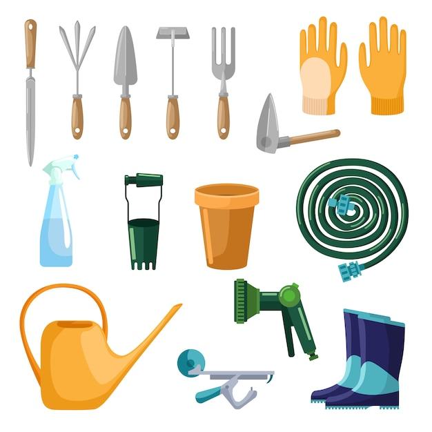 Набор профессиональных инструментов ухода за садом, изолированные на белом фоне в плоский. коллекционные совок, перчатки, горшок, шланг, спрей, лейка, сапоги. набор символов фермы Premium векторы
