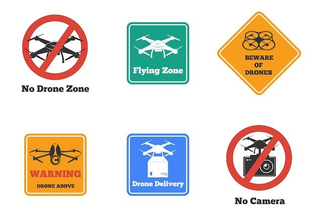 分離されたさまざまな形や色の禁止および警告ドローンサインのセット 無料ベクター