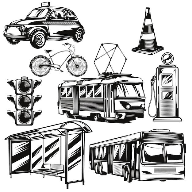 Набор общественного транспорта и частей элементов дороги Бесплатные векторы
