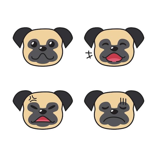 Набор лиц мопса, показывающих разные эмоции Premium векторы