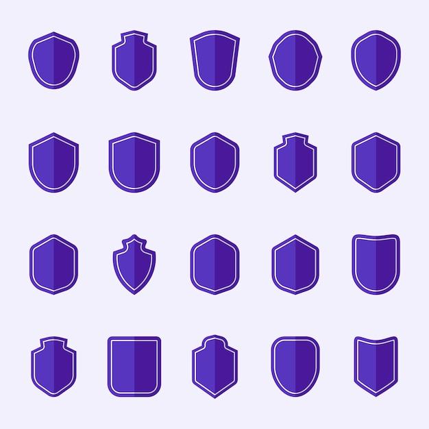 紫色のシールドアイコンベクトルのセット 無料ベクター