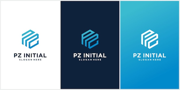 Набор шаблонов начальных логотипов pz Premium векторы
