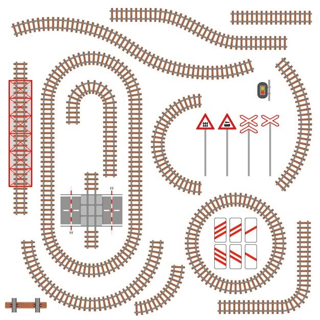 Набор железнодорожных частей и дорожных знаков. иллюстрации. Premium векторы