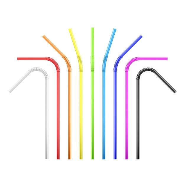 Набор красочных гибких коктейльных трубок радуги. Premium векторы
