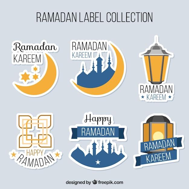 Set of ramadan stickers free vector