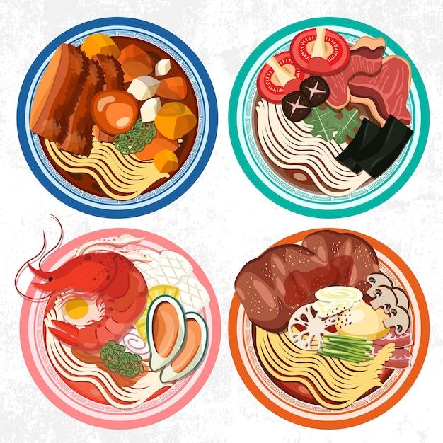 ラーメン丼セット Premiumベクター