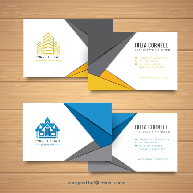 Set of real estate cards vector free download set of real estate cards free vector reheart Images
