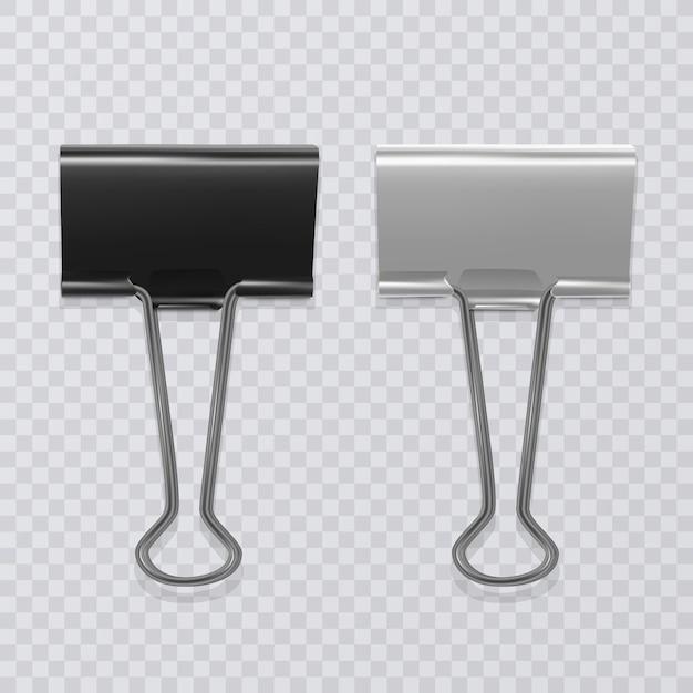 Набор реалистичных черно-белых клипов для документов Premium векторы