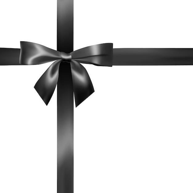 黒のリボンとリアルな黒の弓のセット。装飾ギフト、挨拶、休日、バレンタインデーの要素。 Premiumベクター