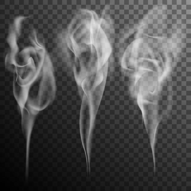 Набор реалистичных сигаретного дыма волн. Premium векторы