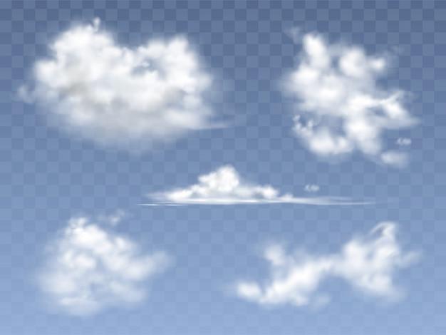 Набор реалистичных облаков, иллюстрация различных видов перистых и кучевых облаков Бесплатные векторы
