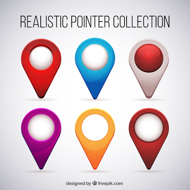 set of realistic colored locations vector free download