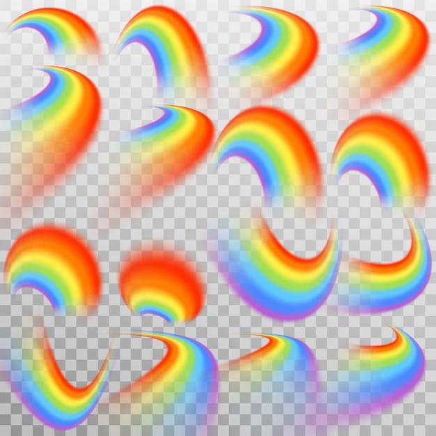 Набор реалистичной красочной радуги. прозрачный фон только в Premium векторы